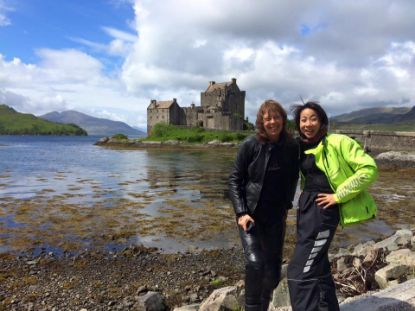 Riders posing at Eilean Donan Castle Eilean Donan Castle